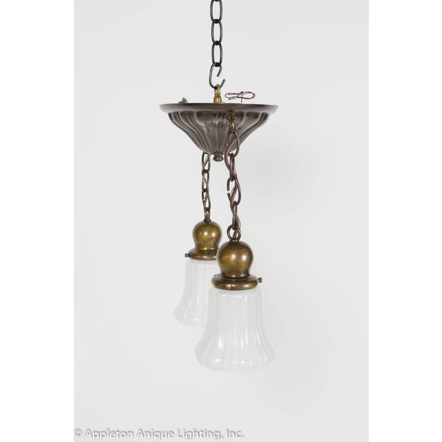 Early 20th Century Restored Two Light Sheffield Pendants For Sale - Image 5 of 6