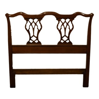 Traditional Chippendale High End Solid Walnut Style Headboard For Sale