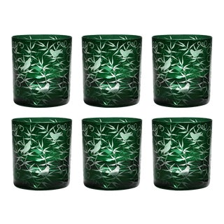 Finch Double Old Fashioned Glasses, Set of 6, British Racer Green For Sale