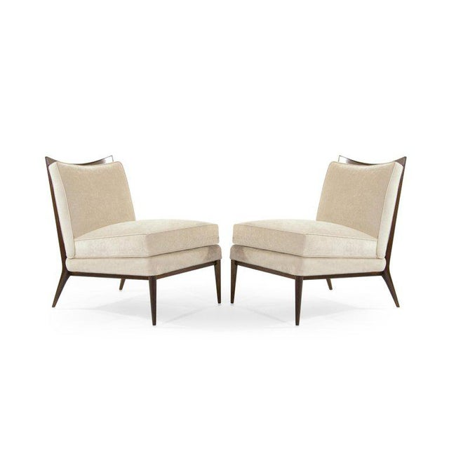 Directional Wanut Frame Slipper Chairs by Paul McCobb for Directional - a Pair For Sale - Image 4 of 12