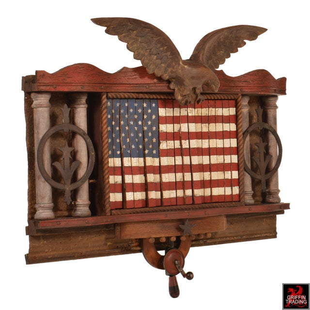 American Classical FOREVER SHE WAVES #2 Mechanical American Flag with Eagle For Sale - Image 3 of 10