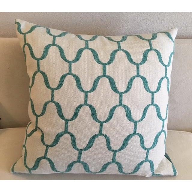 Custom Turquoise Moroccan Trellis Pillows - Pair - Image 3 of 5