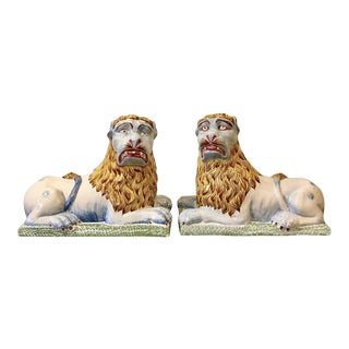 19th Century Faience Luneville Lions - a Pair For Sale