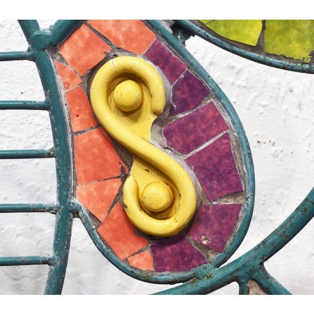Unique Painted Iron and Inlaid Ceramic Mosaic Butterfly Chairs - a Pair For Sale In Miami - Image 6 of 13
