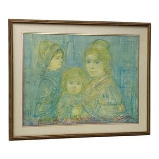 """Edna Hibel """"Mother and Daughters"""" Framed Lithograph C.1970s For Sale"""