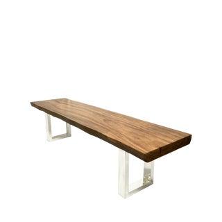 Modern GuildMaster Stainless Steel Teak Slab Bench For Sale