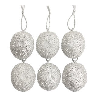 Silvered Sea Urchin Ornaments - Set of 6 For Sale