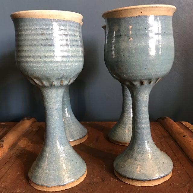 Art Pottery Turquoise Stoneware Goblets- Set of 4 - Image 4 of 7