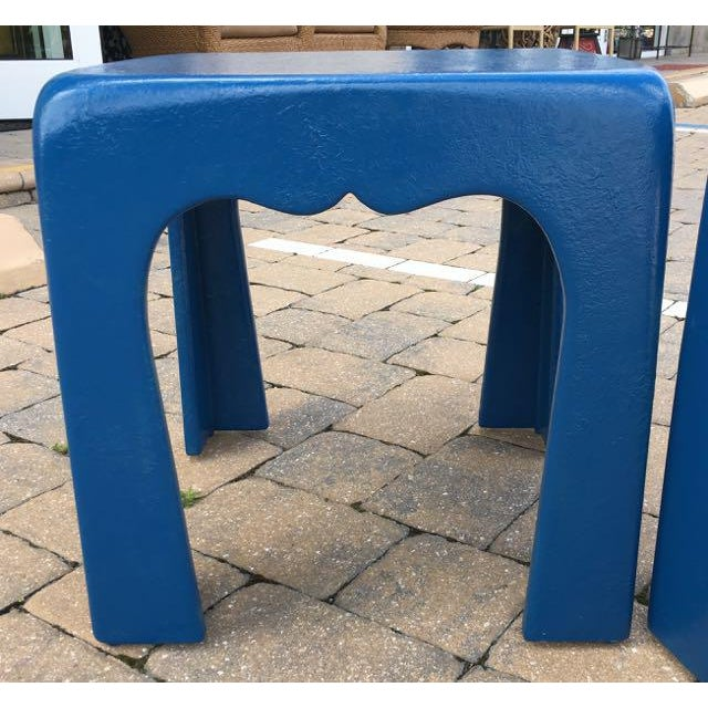 Vintage Blue Fiberglass Occasional Tables - A Pair For Sale In Tampa - Image 6 of 13