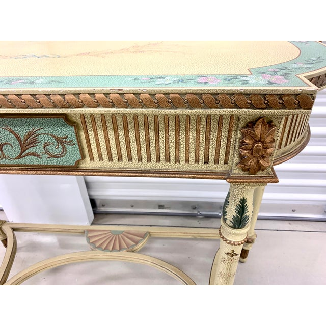 Metal French Country Hand Painted Maitland Smith Console Table For Sale - Image 7 of 11