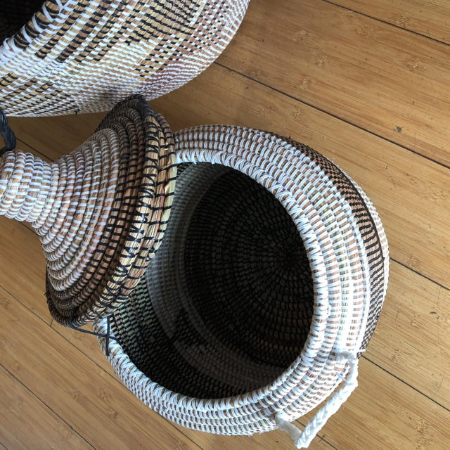 Boho Chic Geometric Hand Woven Monochromatic Baskets- Set of 3 For Sale - Image 3 of 8