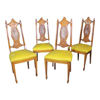Mid-Century Carved Cane Chairs - Set of 4 For Sale