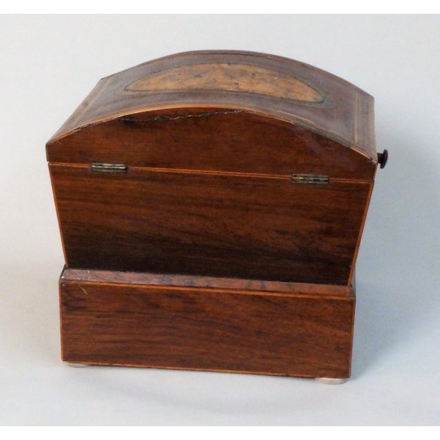 Brown Circa 1820 English Georgian Style Mahogany and Satinwood Casket For Sale - Image 8 of 12