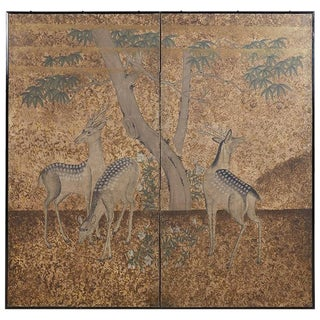 Japanese Two-Panel Meiji Screen of Sika Deer For Sale