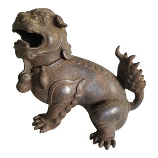 Antique Iron Dragon Incense Burner For Sale