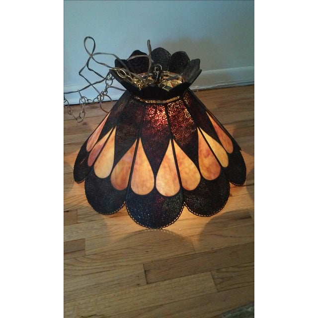 Vintage Stained Glass and Bronze Hanging Lamp - Image 2 of 7