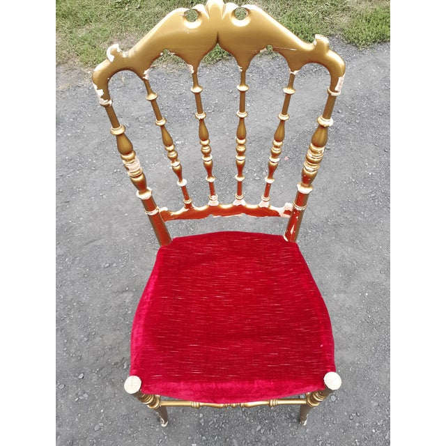 Chiavari Vintage Italian Chiavari Chair in Gold Over Wood For Sale - Image 4 of 12