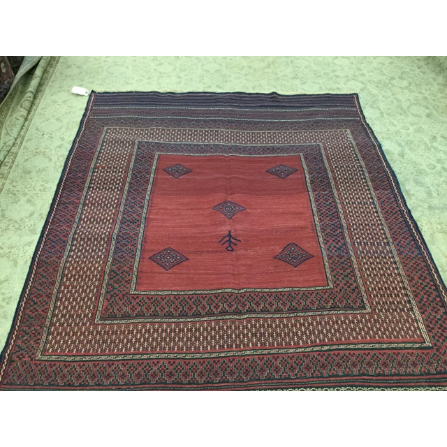 Red Red & Blue Vintage Turkish Kilim Rug - 6′ × 7′ For Sale - Image 8 of 8