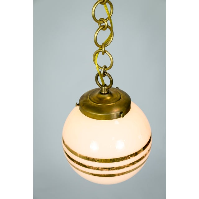 Metal 14-Karat Gold Striped Round White Glass Pendants - a Pair For Sale - Image 7 of 9
