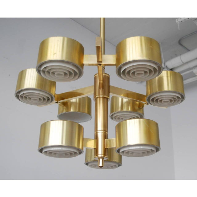 Large chandelier designed by Hans-Agne Jakobsson for Markaryd, Sweden, circa 1960s. Newly rewired with nine porcelain...