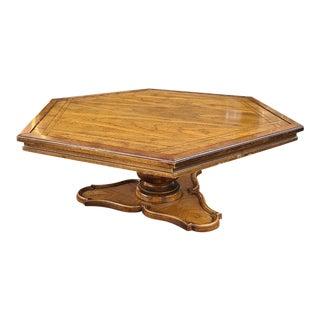 Brandt Furniture Hexagonal Walnut Pedestal Coffee/Cocktail Table For Sale