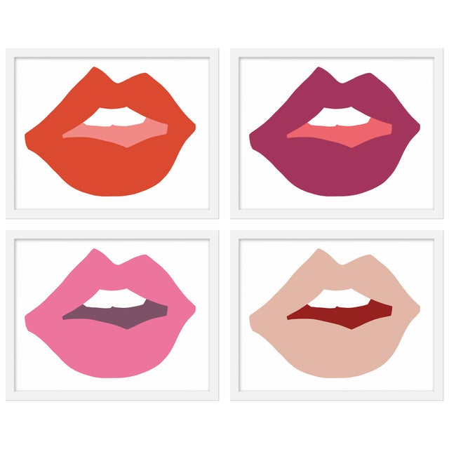 "Contemporary Medium ""Kiss Me (Pinks)"" Print by Angela Chrusciaki Blehm, 40"" X 32"" - Set of 4 For Sale - Image 3 of 3"