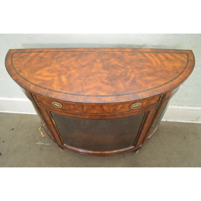 Theodore Alexander Flame Mahogany Regency Style Demilune Curio Base Commode Console - Image 9 of 10