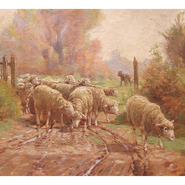 Late 19th Century 19th Century French Sheep Painting in Carved Gilt Frame Signed Charles Clair For Sale - Image 5 of 12
