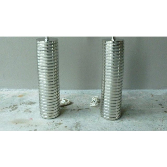 Chrome Large 1970s Laurel Towering Chrome Steel Lamps With Chromed Steel Shades - a Pair For Sale - Image 7 of 8