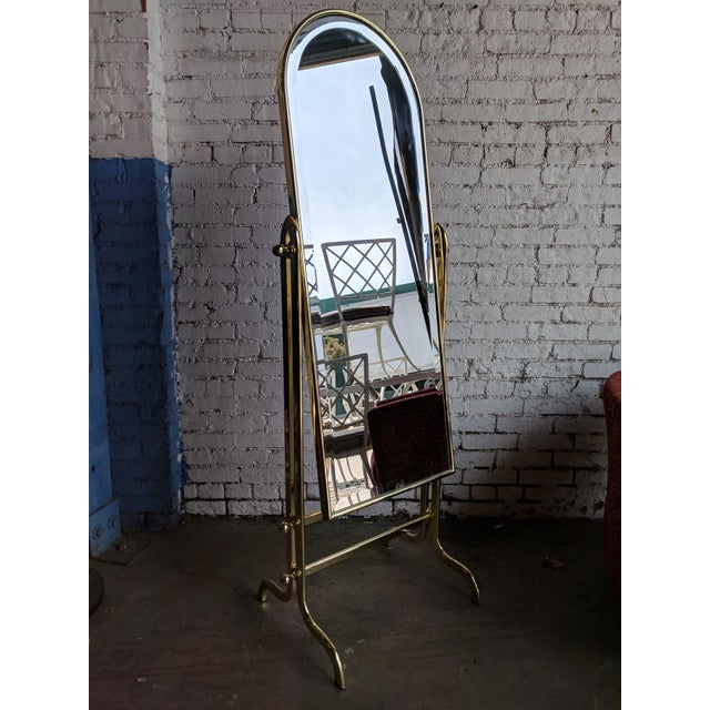 Vintage Shiny Brass Dressing Mirror For Sale In Los Angeles - Image 6 of 6