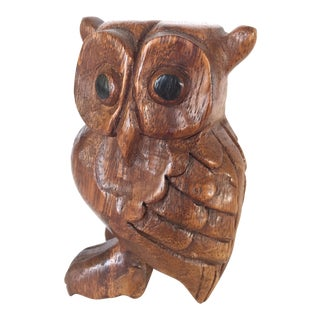 Vintage Owl Whistle, Hand Carved Wood For Sale