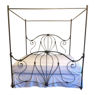 Classic Wesley Allen Forged Iron Canopy King Bed For Sale