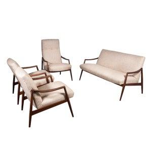 1950s Teak Living Room Sofa Set by Lohmeyer Upholstered à La Coco Chanel - Set of 4 For Sale