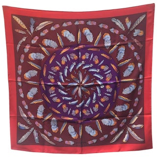 Hermes Vintage Plumes Silk Scarf C1950s in Red and Purple For Sale