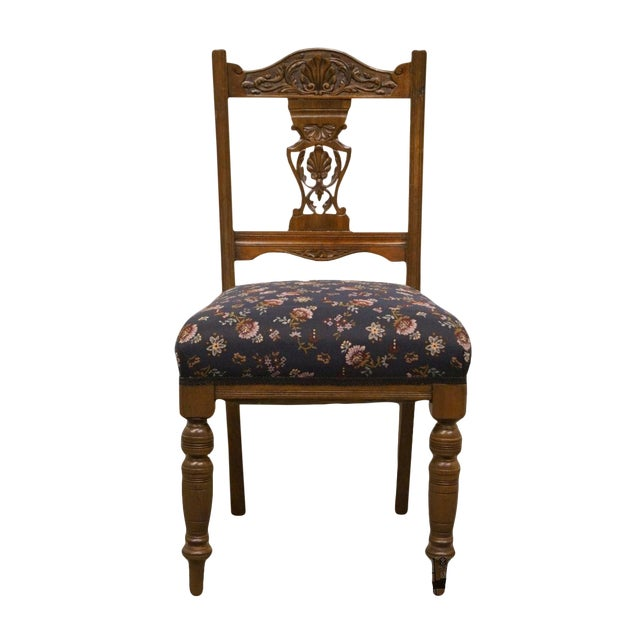 1940's Antique Jacobean Gothic Revival Walnut Dining Side Chair For Sale