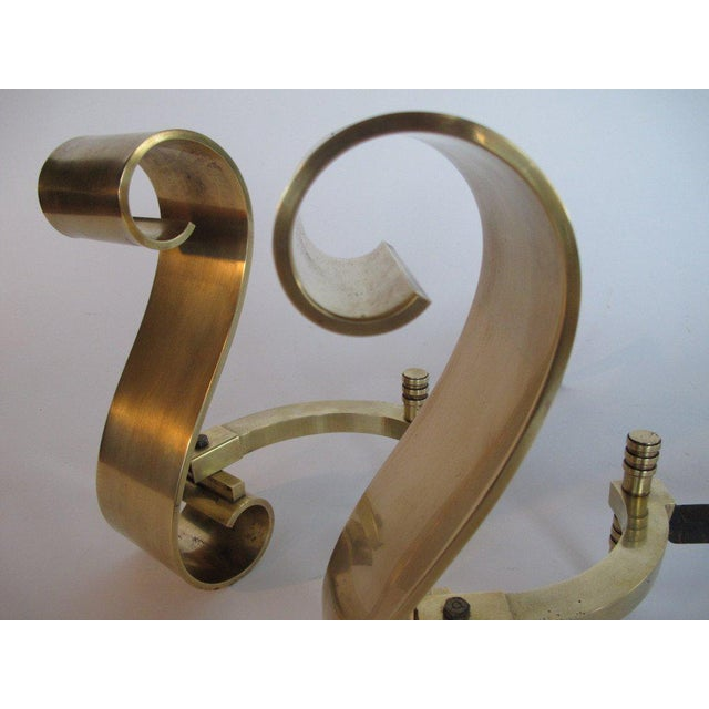 Modern 1950s Modern Decorative Brass Scroll Andirons - a Pair For Sale - Image 3 of 8