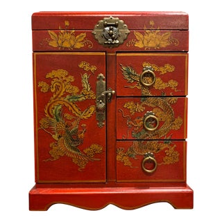 Asian Style Red Jewelry Box For Sale