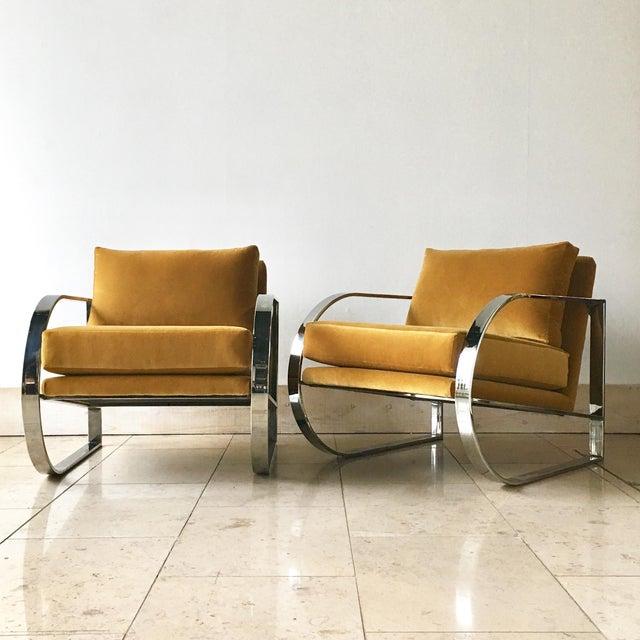 Chromium Steel Framed Velvet Armchairs 1970s For Sale - Image 11 of 11
