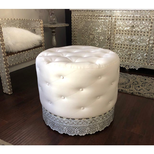 Mother of Pearl Inlay Large Ottoman For Sale - Image 4 of 8