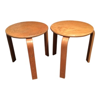 1950s Alvar Aalto 3 Leg Stacking Stools Tables - a Pair For Sale