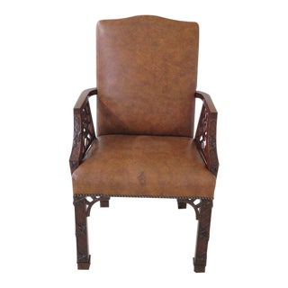 Chinese Chippendale Mahogany Leather Arm Chair