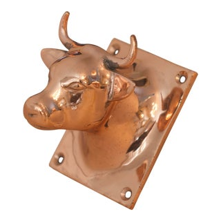 1980s French Copper Bull Head Kitchen Hook For Sale