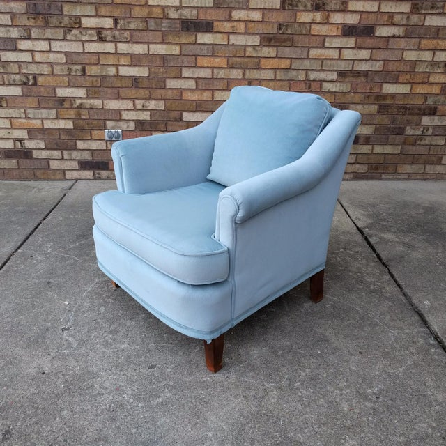 Vintage Blue Velvet Rolled Arm Club Chairs by Sam Moore Furniture - A Pair - Image 2 of 11