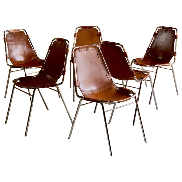Les Arcs Dining Chairs Leather, 1960s - Set of 6 For Sale - Image 13 of 13