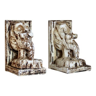 Vintage Vergara-Art Carved Wood Quixote Bust Bookends For Sale