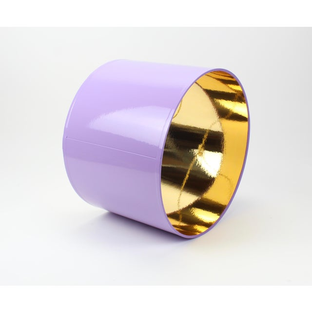 Lampshade Designs HIgh Gloss Lavender Drum Lamp Shade With Gold LIning For Sale - Image 4 of 8
