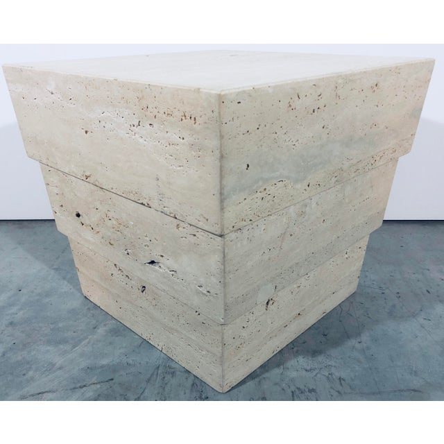 1970s Mid-Century Modern Italian Travertine Pedestal For Sale - Image 12 of 12