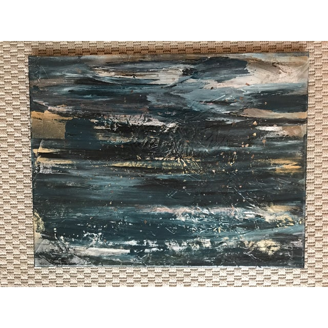 """""""Otherworldy"""" pair of original abstract acrylic paintings. Hints of blue, gold, white and black combine to create a..."""