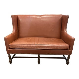 Vintage Leather Settee by North Hickory Furniture Company For Sale