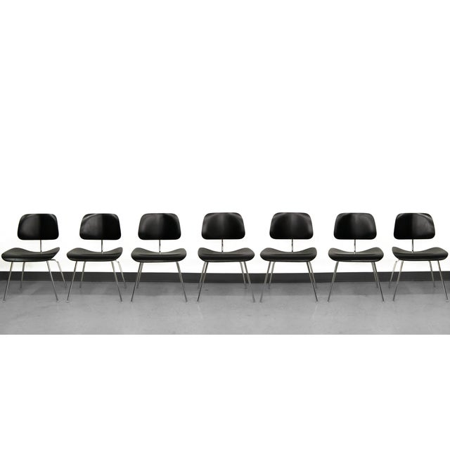 Set of 7 Authentic Eames Herman Miller Dcm Black Ebony Mid Century Dining Chairs - Image 2 of 8